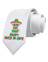 Happy Cinco de Mayo Cat Printed White Necktie
