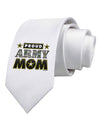Proud Army Mom Printed White Necktie