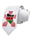 Kenya Flag Design Printed White Necktie