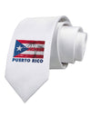 Distressed Puerto Rico Flag Printed White Necktie