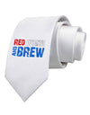 Red White and Brew Color Printed White Necktie