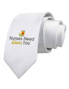 Nurses Need Shots Too Printed White Necktie