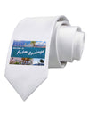 Welcome to Palm Springs Collage Printed White Necktie