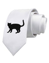Cat Silhouette Design Printed White Necktie