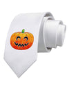 Jack-O-Lantern Watercolor Printed White Necktie
