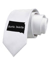 North Dakota - United States Shape Printed White Necktie