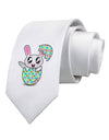 Bunny Hatching From Egg Printed White Necktie