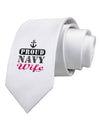 Proud Navy Wife Printed White Necktie