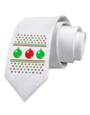 Ugly Christmas Sweater Ornaments Printed White Necktie