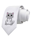 Dr Cat MD - Cute Cat Design Printed White Necktie