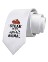 Steak Is My Spirit Animal Printed White Necktie