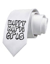 Happy Mardi Gras Text 2 BnW Printed White Necktie