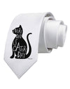 Every Day Is Caturday Cat Silhouette Printed White Necktie