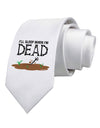 Sleep When Dead Printed White Necktie