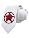 Blood Red Skull Printed White Necktie