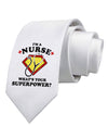 Nurse - Superpower Printed White Necktie