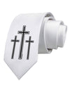 Three Cross Design - Easter Printed White Necktie