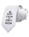 Keep Calm and Obey Mom Printed White Necktie