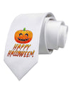 Jack-O-Lantern Watercolor Halloween Printed White Necktie