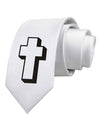 Simple Cross Design Glitter - Black Printed White Necktie