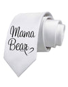 Mama Bear with Heart - Mom Design Printed White Necktie