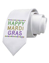 Happy Mardi Gras Beads Printed White Necktie
