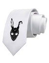 Scary Bunny Face Black Printed White Necktie