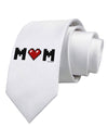 Mom Pixel Heart Printed White Necktie