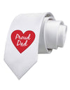 Proud Dad Heart Printed White Necktie