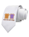 Cute PB and J Design - Made for Each Other Printed White Necktie