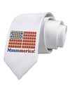 American Breakfast Flag - Bacon and Eggs - Mmmmerica Printed White Necktie