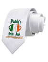 Paddy's Irish Pub Printed White Necktie