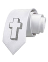 Simple Cross Design Glitter - Silver Printed White Necktie