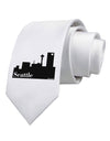 Seattle Skyline with Space Needle Printed White Necktie