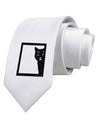 Cat Peeking Printed White Necktie