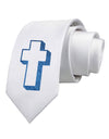 Simple Cross Design Glitter - Blue Printed White Necktie