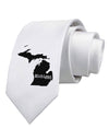 Michigan - United States Shape Printed White Necktie