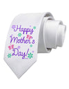 Happy Mother's Day Design Printed White Necktie