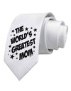 The World's Greatest Mom - Superhero Style Printed White Necktie