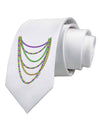 Mardi Gras Beads Necklaces Printed White Necktie