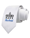 Proud Navy Husband Printed White Necktie