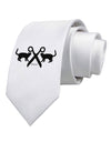 Two Cats With Scissors Printed White Necktie