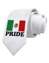 Mexican Pride - Mexican Flag Printed White Necktie