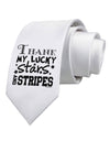 Thank My Lucky Stars and Stripes Printed White Necktie