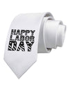 Happy Labor Day Text Printed White Necktie