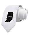 Indiana - United States Shape Printed White Necktie
