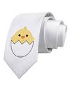 Cute Hatching Chick Design Printed White Necktie