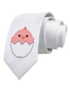 Cute Hatching Chick - Pink Printed White Necktie
