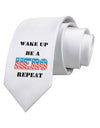 Wake Up Be A Hero Repeat Printed White Necktie