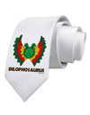 Dilophosaurus Design - Color - Text Printed White Necktie